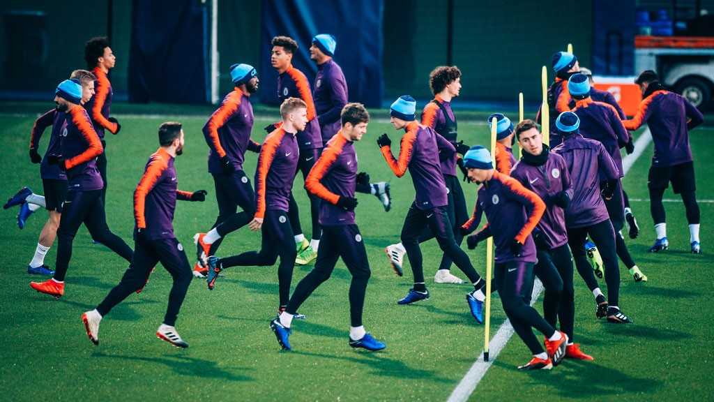 PURPLE REIGN: The City squad are put through their paces ahead of Wednesday's clash with Hoffenheim