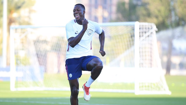 HIGH KNEES: A trademark smile from Benjamin Mendy.