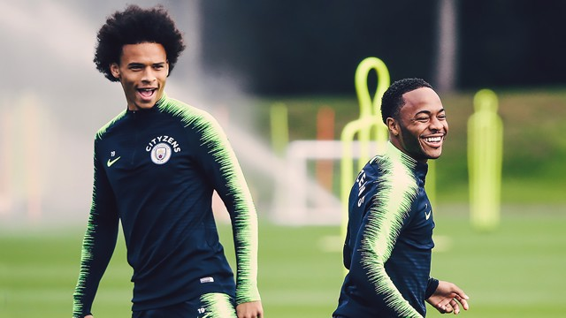 WING COMMAND: Something has tickled Leroy Sane and Raheem Sterling's fancy