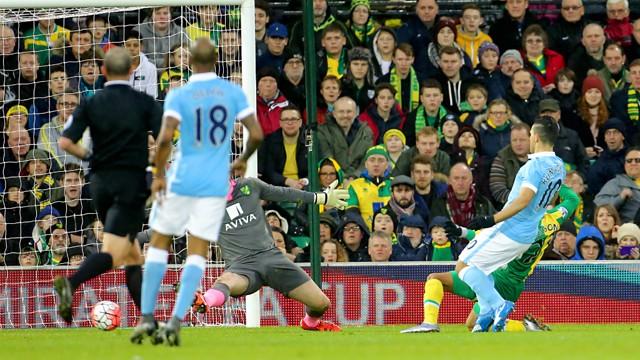 GOING SOLO: Sergio Aguero scores his brilliant goal