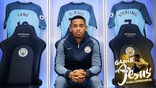 Gabriel Jesus sits down in the dressing room