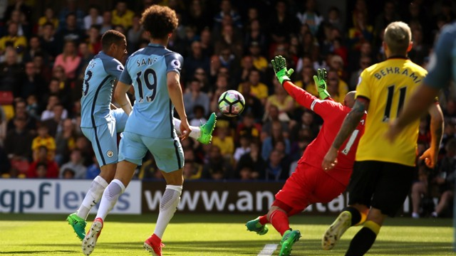 CLOSE CONTROL: Gabriel Jesus scoops the ball over Gomes to make it 5-0.