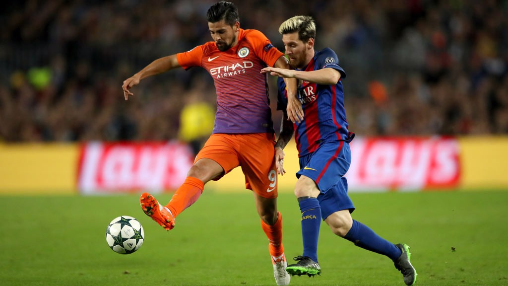 NO HOLDING BACK: Nolito and Lionel Messi