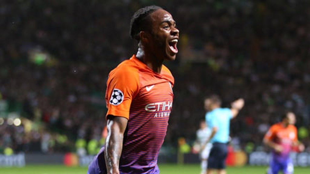 STERLING: Manchester City's Raheem Sterling celebrates scoring his side's second goal
