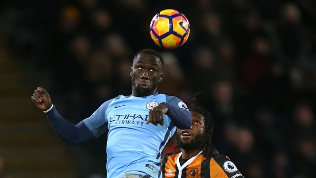 EYES ON THE BALL: Sagna made some crucial interventions with his head throughout the match