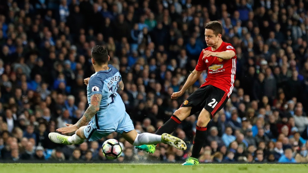 FLYING OTAMENDI: Our number 30 flings himself in front of Herrera's shot in the second half.