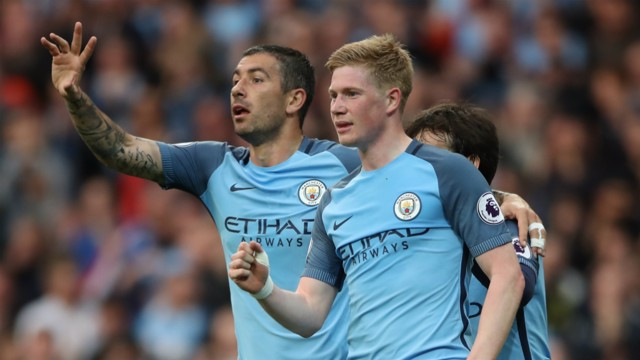 DOUBLED: Aleks Kolarov congratulates Kevin De Bruyne on extending City's lead