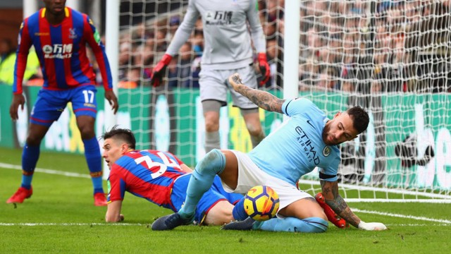 GOAL THREAT: Nicolás Otamendi fights for the ball in Palace's penalty box.