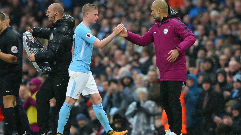 WELL PLAYED: Pep Guardiola congratulates Kevin De Bruyne on another influential performance