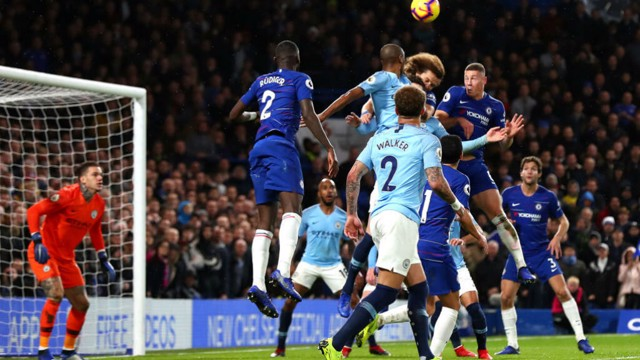 LEAD DOUBLED: Luiz heads home Chelsea's second