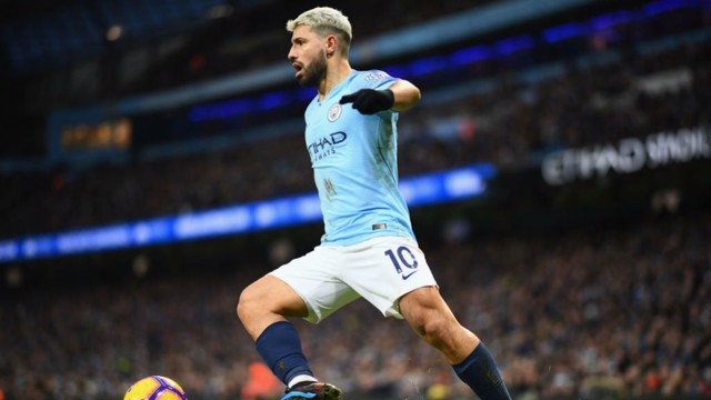 GOAL KING: Aguero in full flight