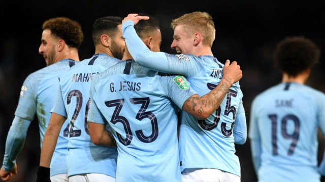 GOOD AS GOALS: Oleksandr Zinchenko celebrates after his stunning strike with fellow scorer Gabriel Jesus