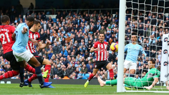 OPENING TIME: Wesley Hoedt deflects Leroy Sane's shot into the Southampton goal