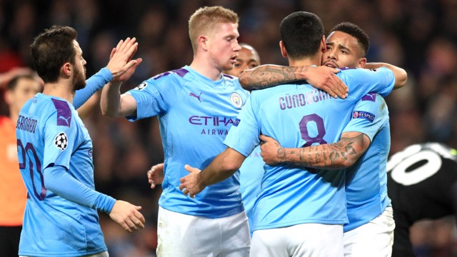 BRAZILIAN MAGIC: Ilkay Gundogan appreciates the super service provided by Gabriel Jesus