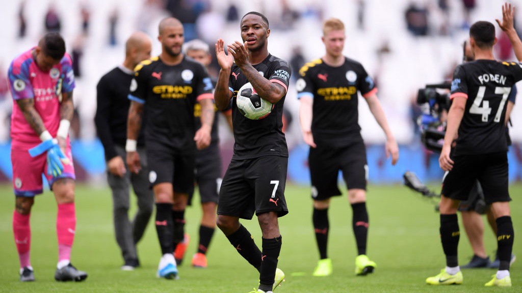 ON FIRE: Hat-trick hero Raheem Sterling takes the match ball home after a terrific performance at West Ham.