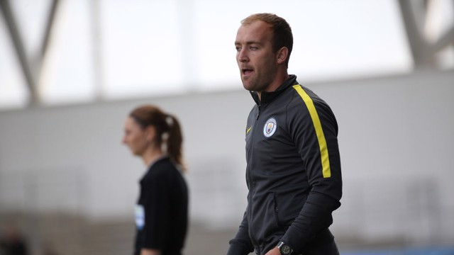 THE BOSS: Manager Nick Cushing watches on as his side sealed the FAWSL 1 title in style at the Academy Stadium.