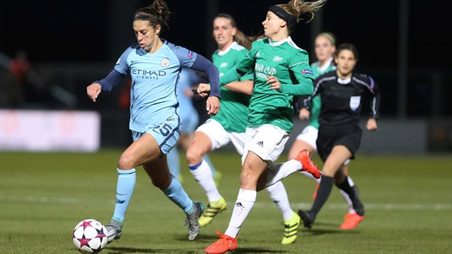 AMERICAN EAGLE: Carli Lloyd in action in her Champions League debut against Fortuna Hjorring