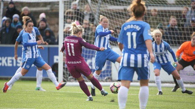 STRIKE: Izzy Christiansen opens the scoring for City at Brighton