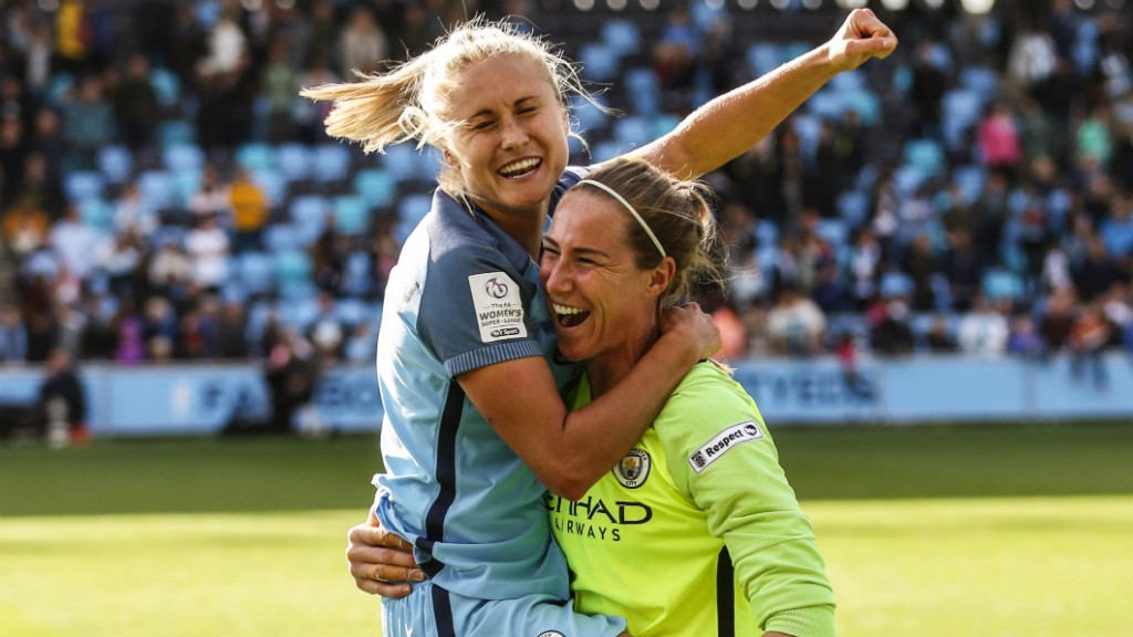 ELATION: Steph Houghton and Karen Bardsley celebrate City's first league title