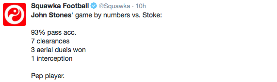 ACCURATE: Stones boasted a high pass accuracy in the Stoke win