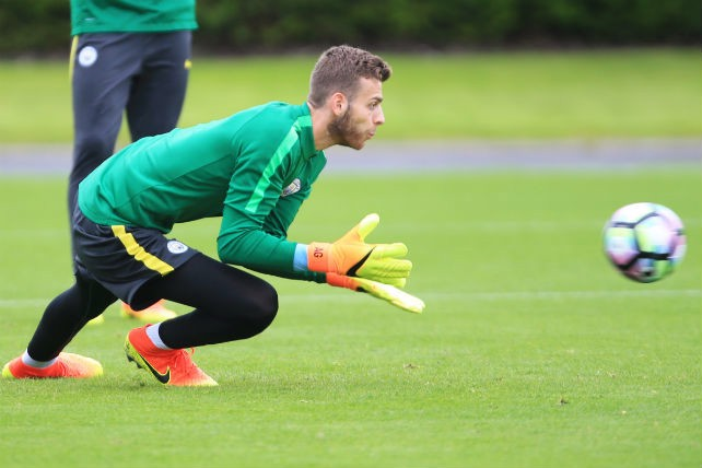 SAFE: Gunn catches the ball in training