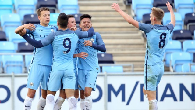 GET IN: Colin Rosler, Phil Foden and Matt Smith celebrate with Lorenzo Gonzalez