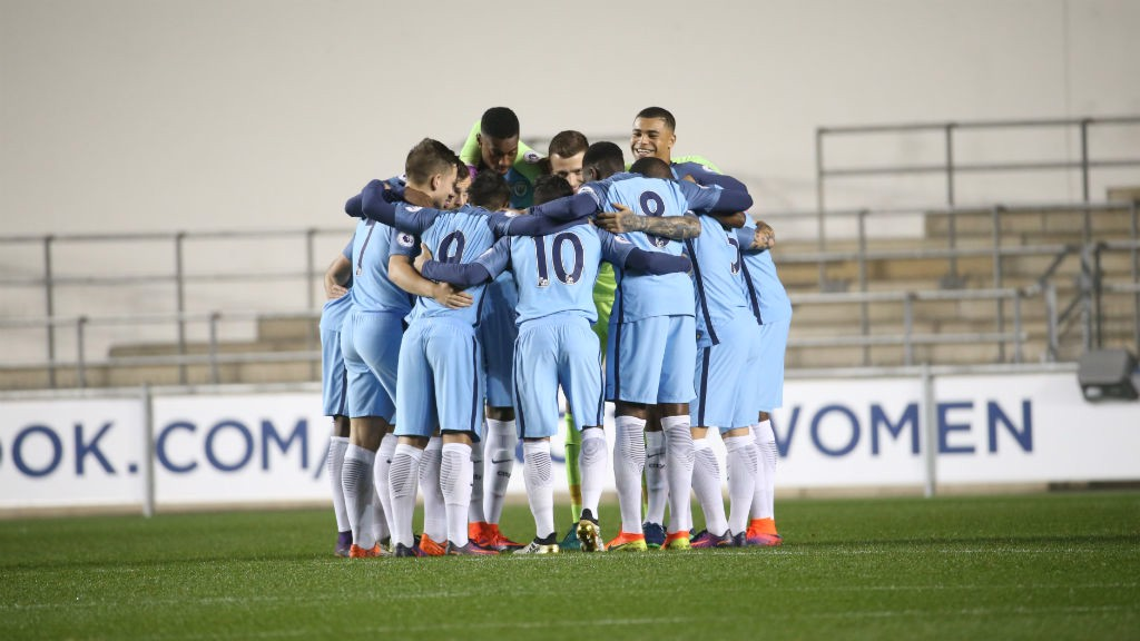 ALL TOGETHER: City gather in a huddle ahead of kick-off