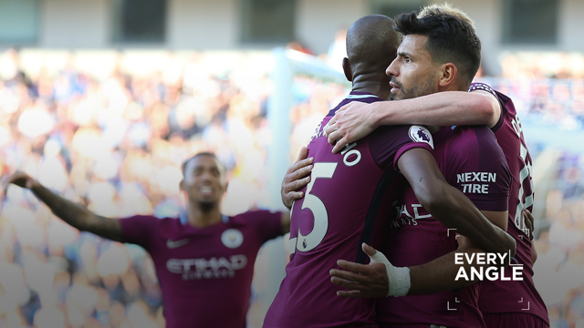 EVERY ANGLE: Watch Sergio Aguero's opener against Brighton from every camera angle available.
