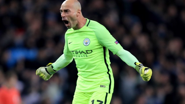 SCREAM: Willy Caballero roars out a battle cry against West Ham