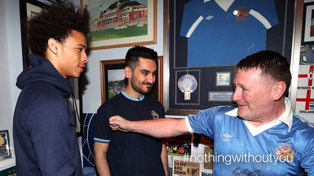 SUPERFAN: True Blue Sean Riley was given a big surprise when Leroy Sane and Ilkay Gundogan turned up at his house to thank him for his support