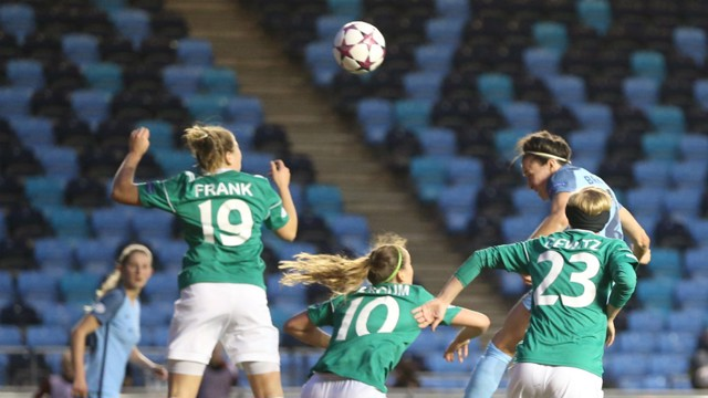 GOAL: Lucy Bronze puts City 1-0 up against Fortuna Hjorring.