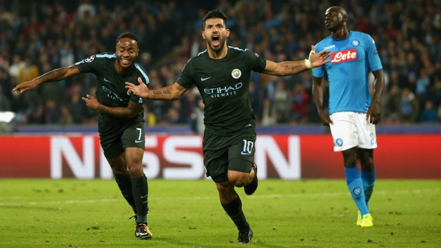 HISTORIC: Sergio Aguero became City's all-time record goalscorer with his 178th strike for the Club against Napoli
