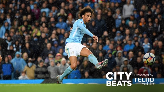 ONE, TWO, THREE: Leroy Sane fires home City's third goal against Burnley.
