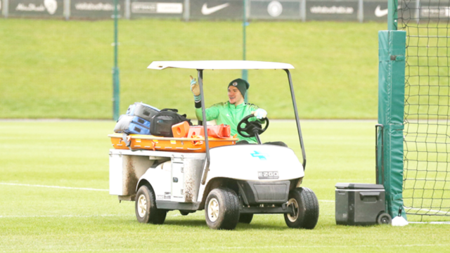 DIVING AND DRIVING: Ederson shows off his driving skills at training!