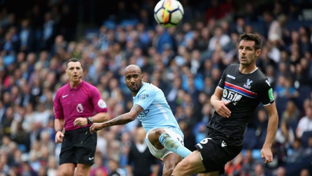 WONDER STRIKE: Fabian Delph hit's an unstoppable effort against Crystal Palace.