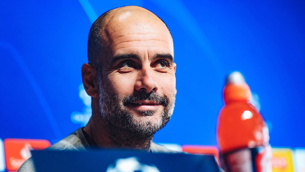 PEP TALK: The boss discusses tomorrow night's Champions League quarter-final with Spurs
