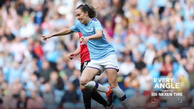 CELEBRATION: Caroline Weir wheels away at the Etihad.